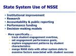 state system use of nsse
