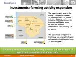 investments farming activity expansion