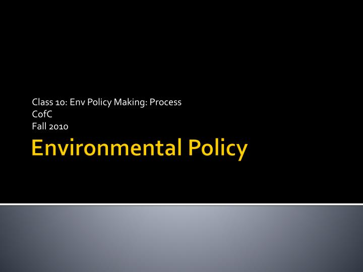 class 10 env policy making process cofc fall 2010 n.