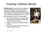 creating a market identity
