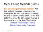 menu pricing methods cont