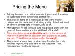 pricing the menu