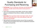 quality standards for purchasing and receiving