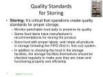 quality standards for storing