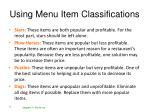 using menu item classifications