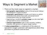 ways to segment a market