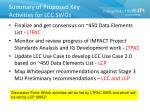 summary of proposed key activities for lcc swgs