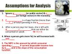 assumptions for analysis