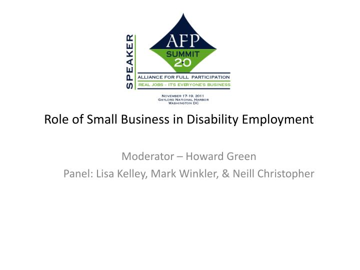 role of small business in disability employment n.