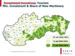 investment incentives tourism min investment share of new machinery