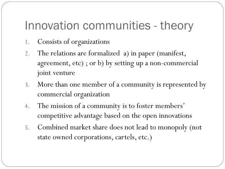 Innovation communities - theory