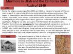 mormons in utah and the california gold rush of 1849