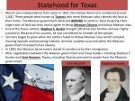 statehood for texas