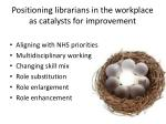 positioning librarians in the workplace as catalysts for improvement