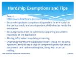 hardship exemptions and tips
