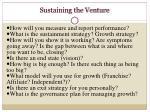 sustaining the venture1
