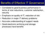 benefits of effective it governance