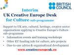 interim uk creative europe desk for culture sub programme