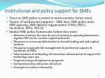 institutional and policy support for smes