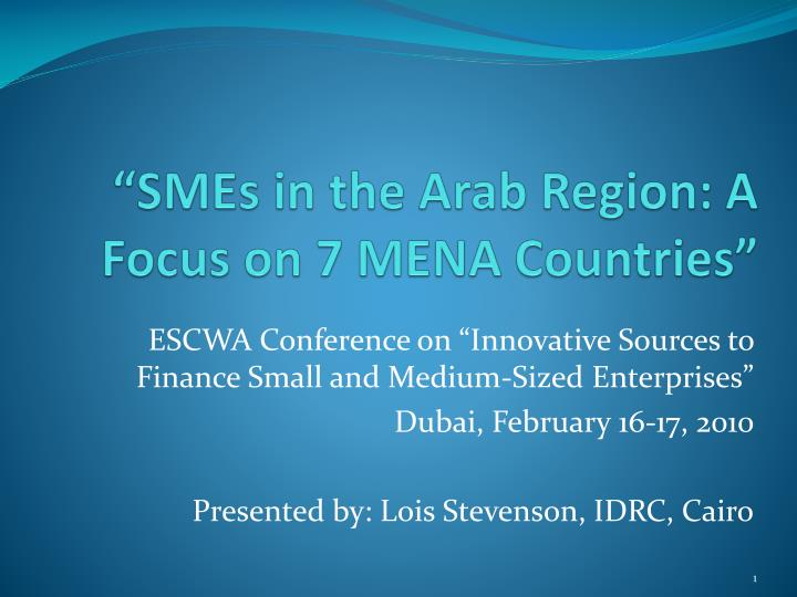 smes in the arab region a focus on 7 mena countries n.