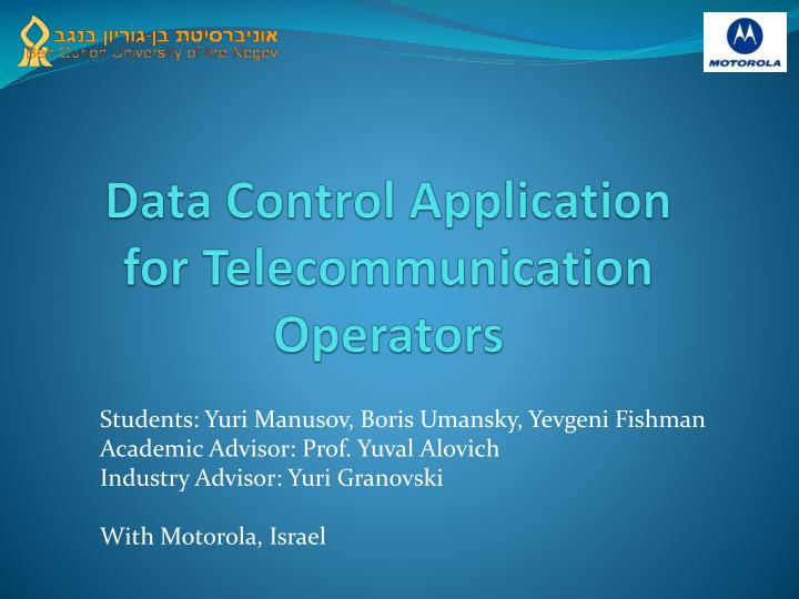 data control application for telecommunication operators n.