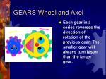gears wheel and axel