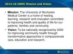 2013 18 urmc mission and vision