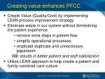 creating value enhances pfcc