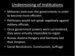 undermining of institutions
