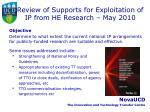 review of supports for exploitation of ip from he research may 2010