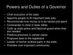 powers and duties of a governor