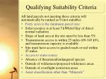 qualifying suitability criteria