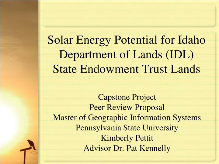 solar energy potential for idaho department of lands idl state endowment trust lands n.