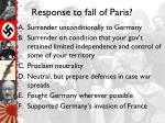 response to fall of paris