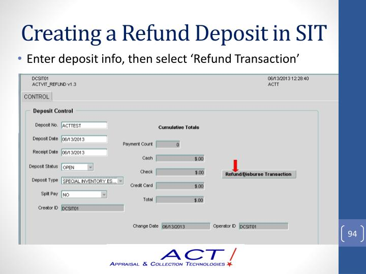 Creating a Refund Deposit in