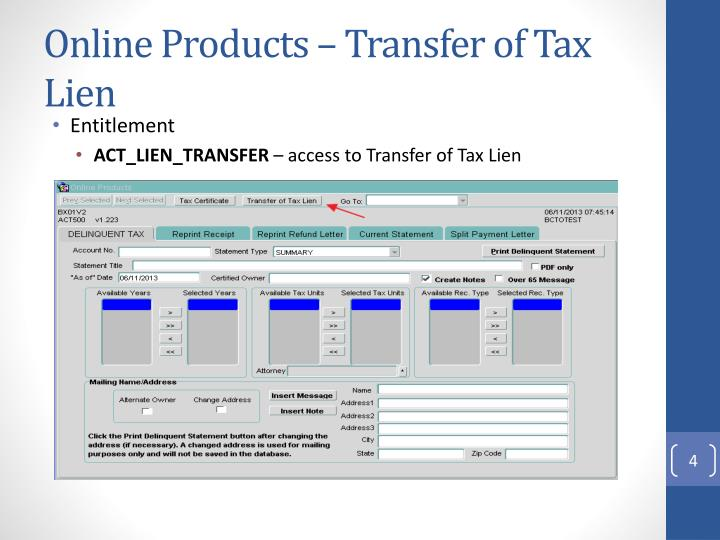 Online Products – Transfer of Tax Lien