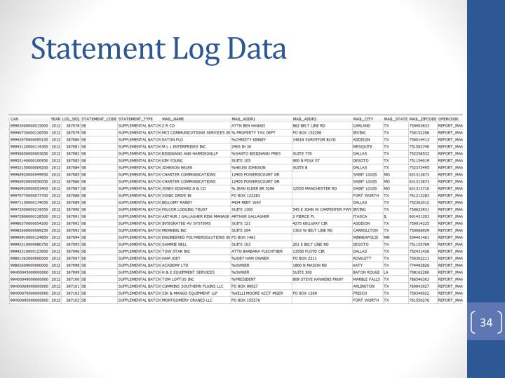 Statement Log Data