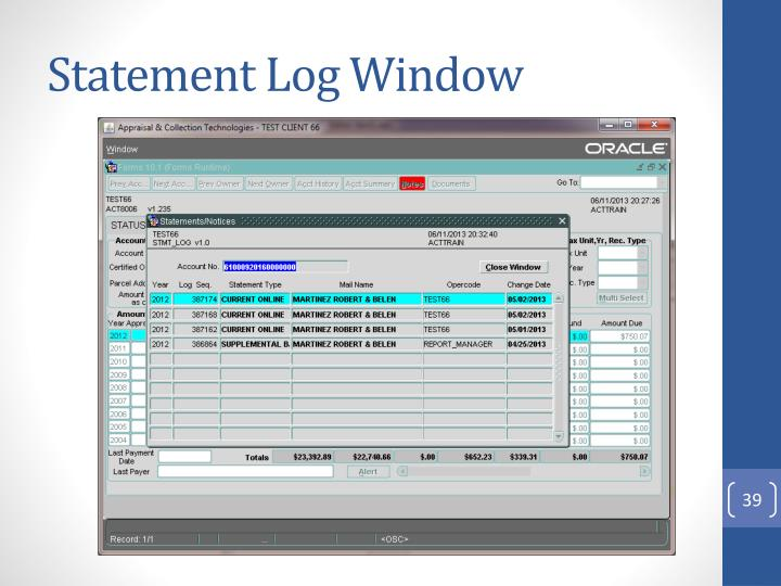 Statement Log Window