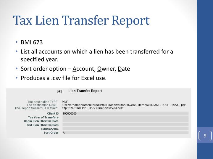Tax Lien Transfer Report
