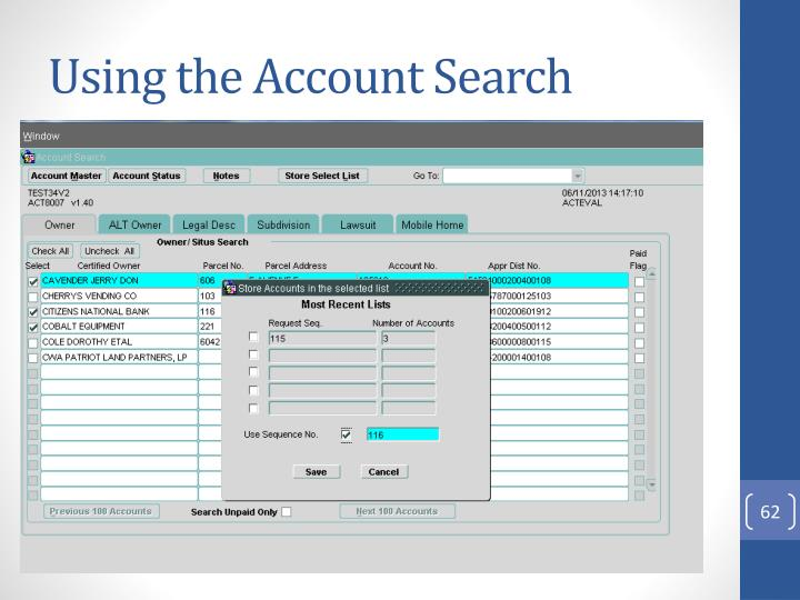 Using the Account Search