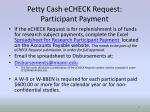 petty cash echeck request participant payment