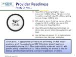 provider readiness ready or not