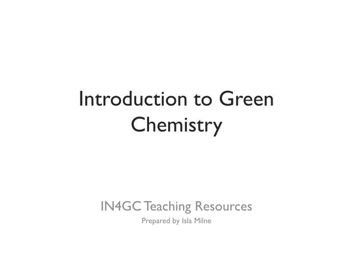 introduction to green chemistry n.