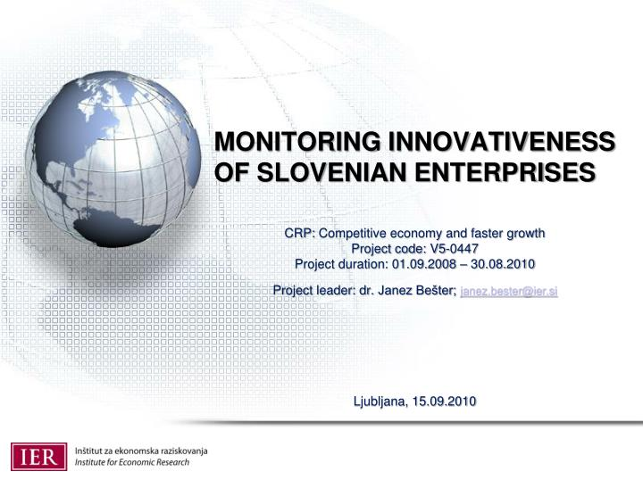 monitoring innovativeness of slovenian enterprises n.