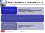 some of the results of the survey 2010 2