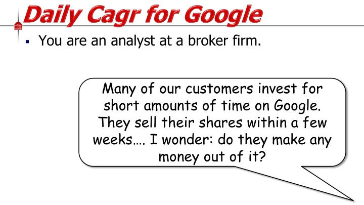 You are an analyst at a broker firm.
