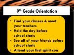 9 th grade orientation