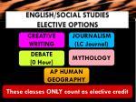 english social studies elective options