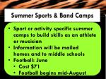 summer sports band camps