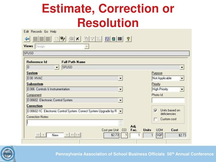 Estimate, Correction or Resolution